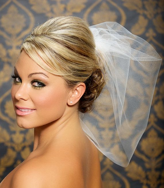 Tulle Bridal Illusion Birdcage Veil Blusher Veil by GildedShadows