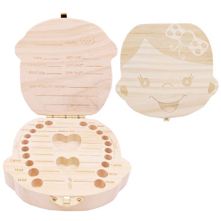 Girl boy wood wooden kids baby milk tooth box teeth organizer save for children umbilical cord lanugo brush case toy gift