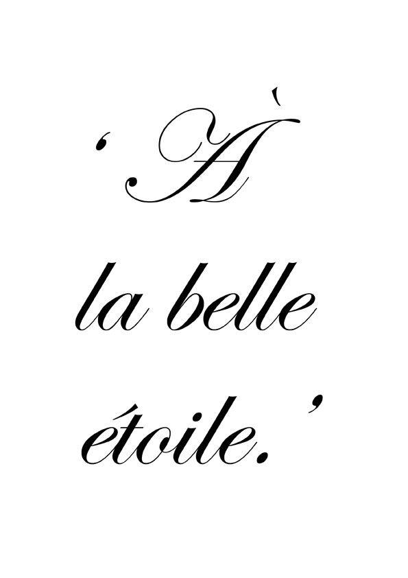♔ À la belle étoile ~ Out in the open, under the stars