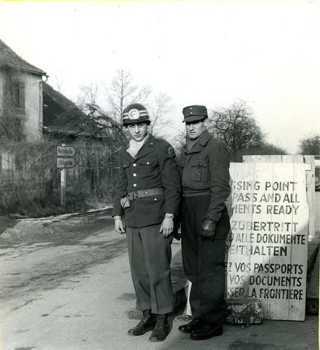 Checkpoint in the British sector of Germany 1948 (by Stockholm Transport Museum Commons)