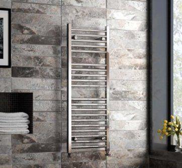 Chrome Curved Rail Ladder Towel Radiator - 1200x450mm [PT-RK1200450] - £97.09 : Platinum Taps & Bathrooms