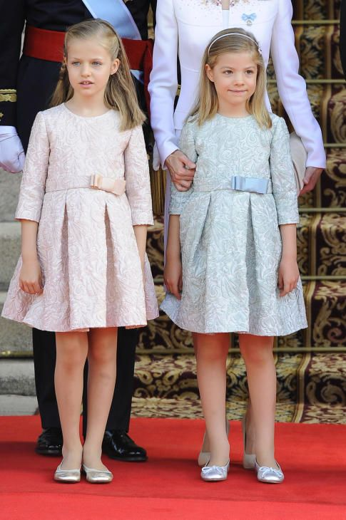 Crown Princess Leonor with her sister Infanta Sofia as their father takes the throne of Spain June 19, 2014