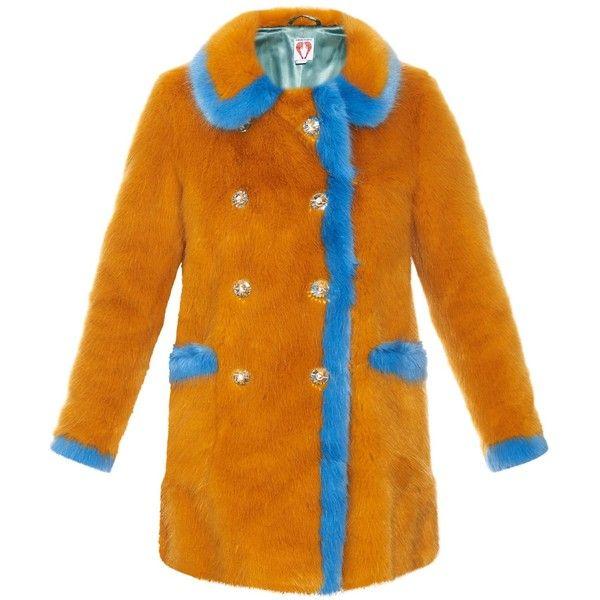 Shrimps Glinda contrast-trim faux-fur coat (€940) ❤ liked on Polyvore featuring outerwear, coats, orange shrug, double-breasted coat, beaded shrug, faux fur shrug and orange coat
