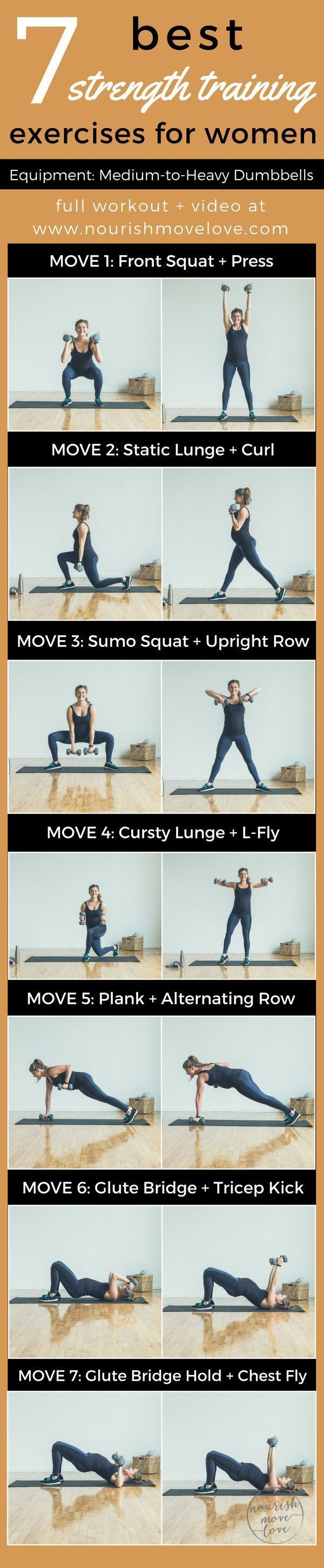 7 Best Strength Training Exercises for Women. An at-home total body workout challenge. 30-minute workout. Squat, press, lunge, curl, row, kick, fly; bicep, back, tricep, chest, glutes   www.nourishmovelove.com #pregnancyandflying, #benchpressweighttraining