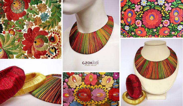 Hungarian folk embriodery inspired yarn wrapped fibre jewellery by Czolori http://czokildihu.bigcartel.com/
