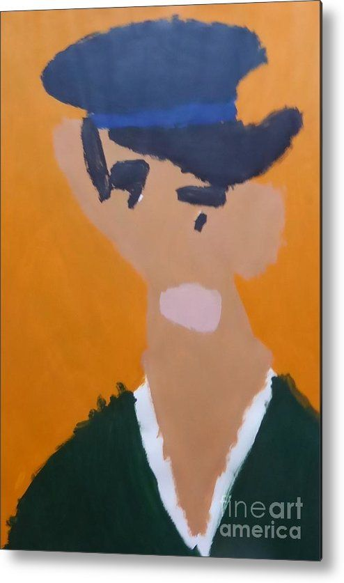 Patrick Metal Print featuring the painting Young Man With A Hat 2014 - After Vincent Van Gogh by Patrick Francis