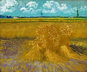 SUMMER: Wheatfield (1888) - For two weeks in June of 1888, Van Gogh was engrossed with drawing and painting the golden wheatfields around Arles. As he wrote to Émile Bernard at this time, 'yearnings for that infinite of which the Sower, the sheaf, are the symbols, still enchant me as before'. Although Van Gogh would have considered Wheatfield to be a study, he meticulously planned its composition.  Photograph: Honolulu Museum of Art, Hawaii
