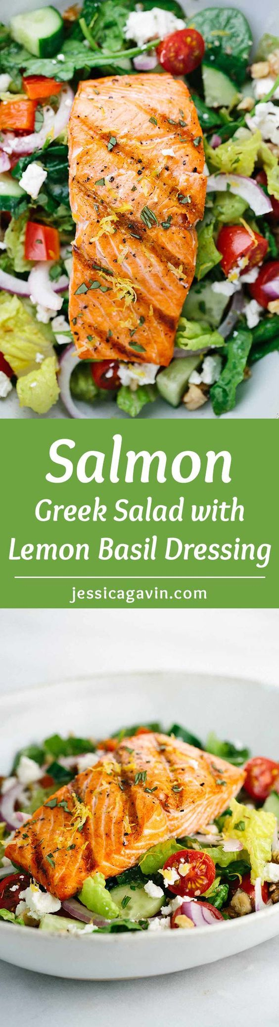 Salmon Greek Salad with Lemon Basil Dressing - A light and healthy recipe that tastes amazing! Crisp vegetables are tossed in a tangy lemon basil dressing and topped with flaky salmon. | jessicagavin.com