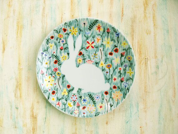 Hand painted porcelain plate - Bunny rabbit in wildflowers via Etsy