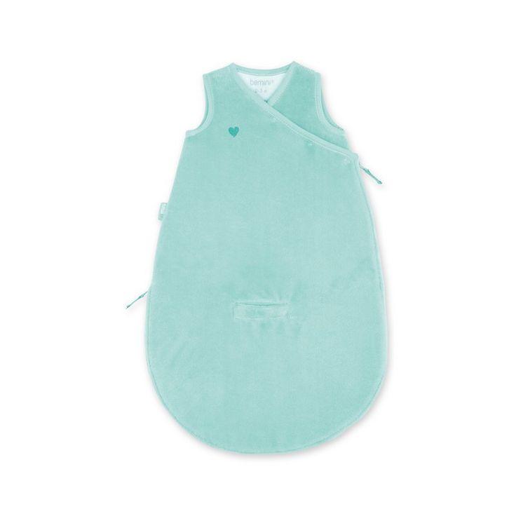 Licht blauw - groene baby slaapzak Magic Bag 0-3 maanden zonder mouwen van het merk Bemini, vroeger babyboum. de slaapzak is vervaardigd uit een zacht bamboe materiaal dat antibacteriëel, hypoallergeen en ademend is.