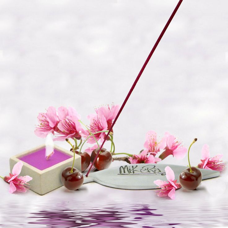 Cherry Blossom scented Incense, Steel Holder and Candle Gift Pack from MiKeRa