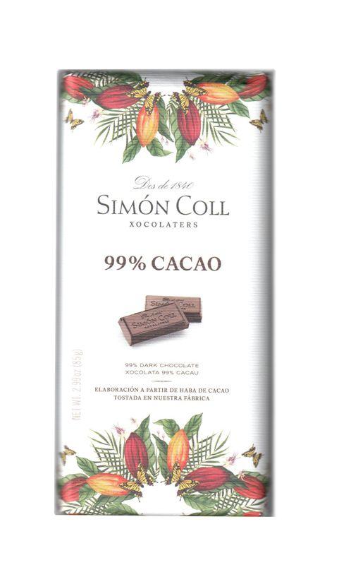 Simon Coll 85g. Ciocolata neagra 99% cacao FARA GLUTEN