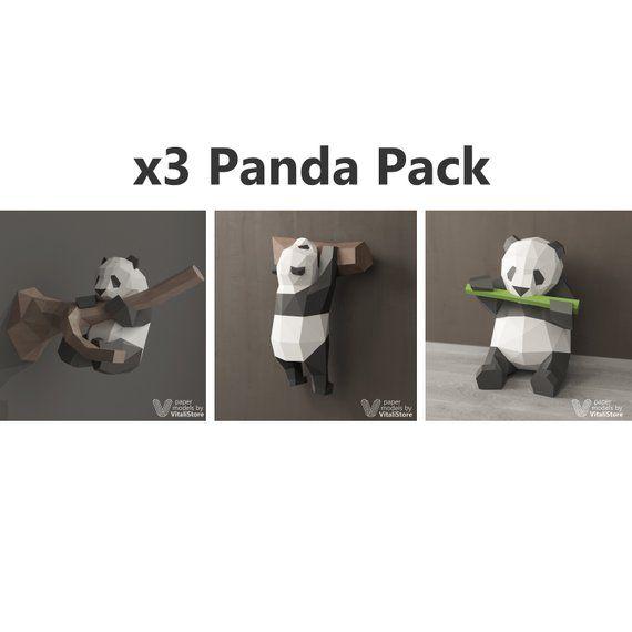 Low Poly Papercraft, Panda Pack, x3 Papercraft Panda, PDF
