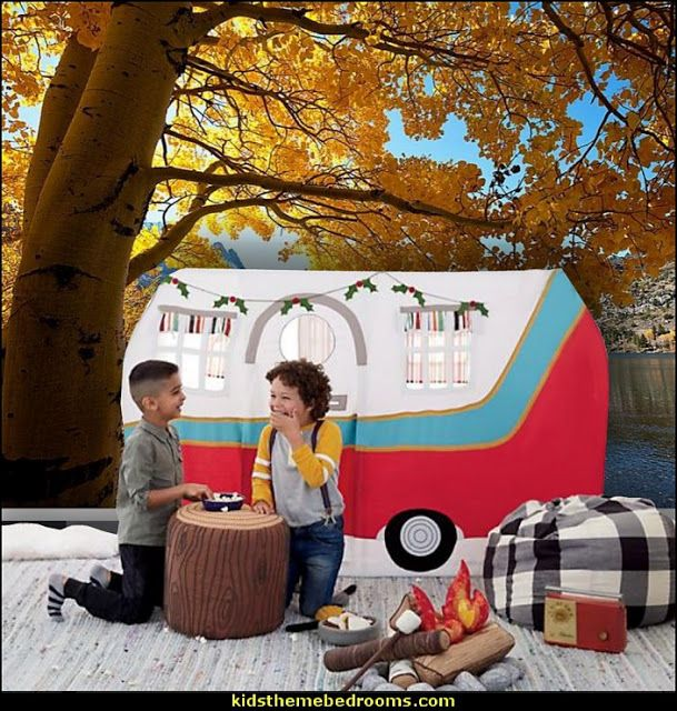 Fun furnishings for camping themed playrooms and camping and outdoor themed bedrooms