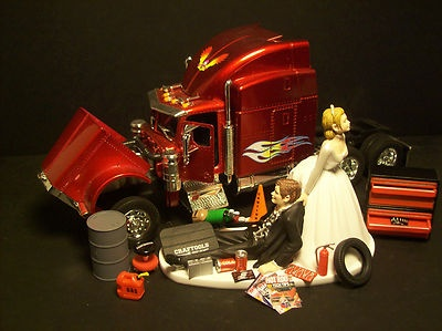 wedding cake topper with truck auto mechanic peterbilt 388 tractor trailer truck 26664