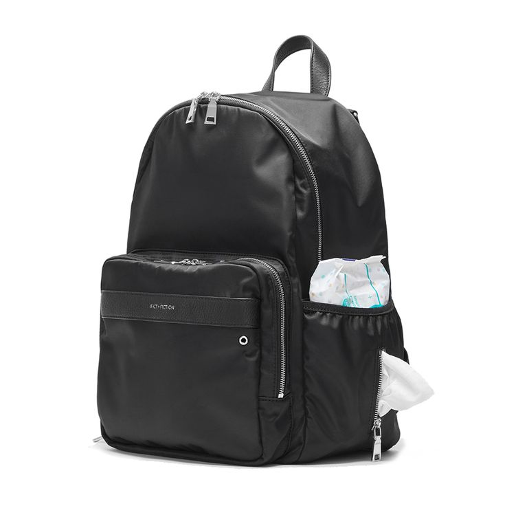 Fact + Fiction Lea Backpack, £125 (also available with gold zips).  The ultimate stylish, functional baby bag, feat. an easy access wipe pocket.