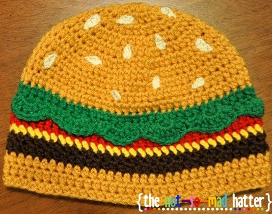 I've seen coasters and toys, but this is the first hat.Free Pattern, Hats Crochet, Free Crochet, Crochet Hats, Hat Crochet, Baby Hats, Crochet Patterns, Hats Pattern, Cheeseburgers Hats