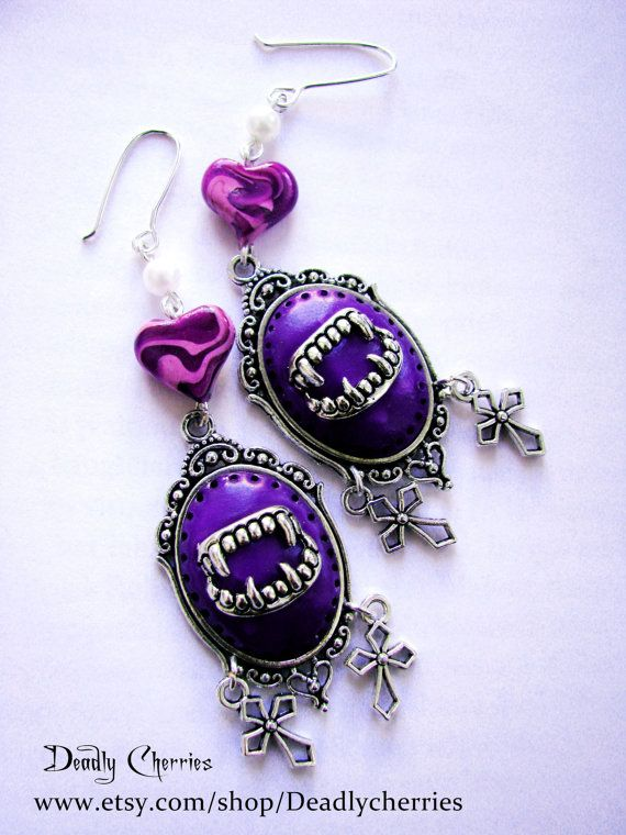 Pastel Goth Lolita creepy cute earrings Sweet by Deadlycherries, $10.00