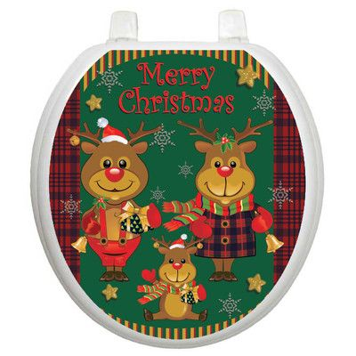 Toilet Tattoos Holiday Reindeer Family Toilet Seat Decal Size: Round