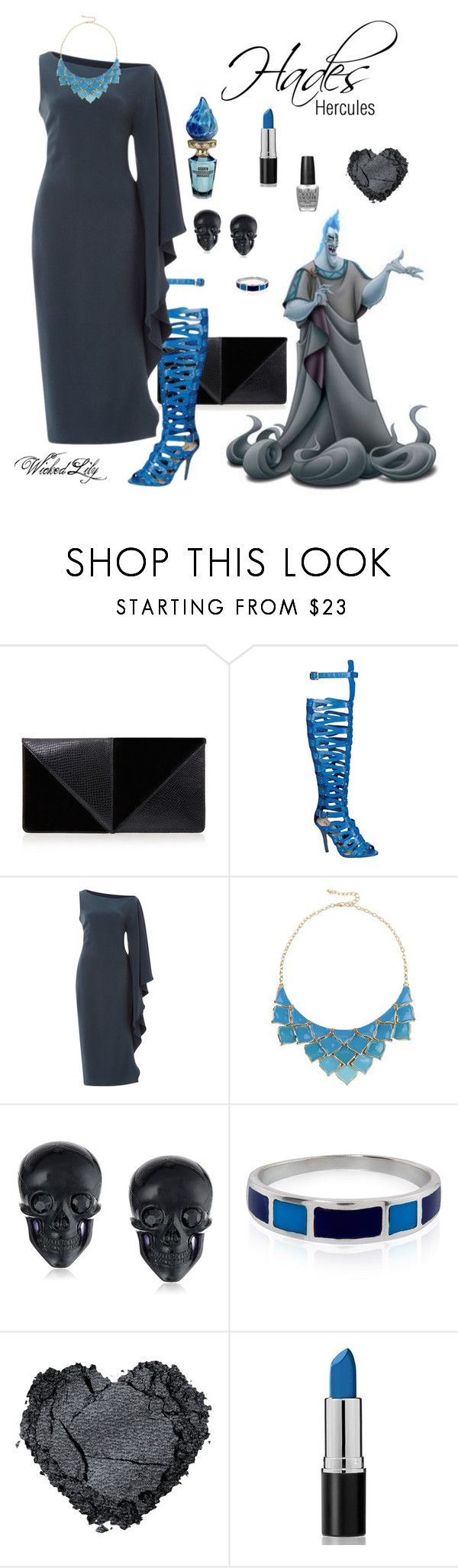 """""""Hades """"Disney Villains"""""""" by le-piano-argent ❤ liked on Polyvore featuring UN United Nude, Beston, Cushnie Et Ochs, George J. Love, Disney, Tarina Tarantino, Accessorize and OPI"""