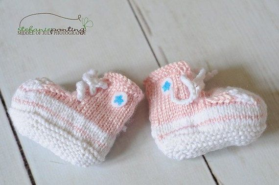 Unique baby girl gift - All Star High Tops Converse Inspired Baby Booties, perfect for a punk rock baby shower, pink, rocker girl. $36.00, via Etsy.