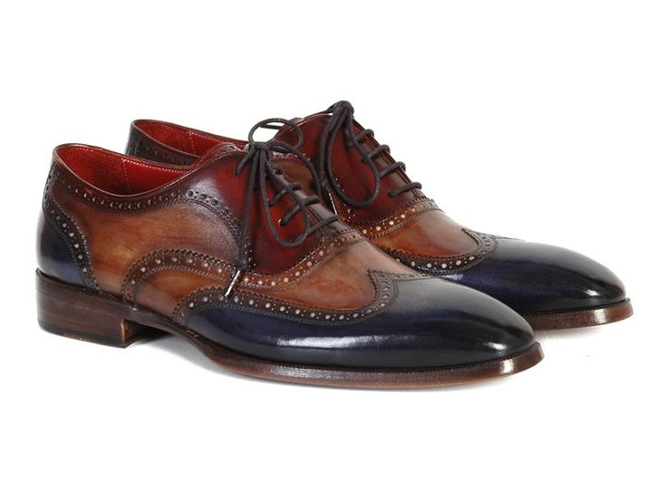 Navy, Camel and Bordeaux hand-painted leather upper Antique burnished leather sole Wingtip oxford style brogues Three tone dress shoes for men This is a made-to