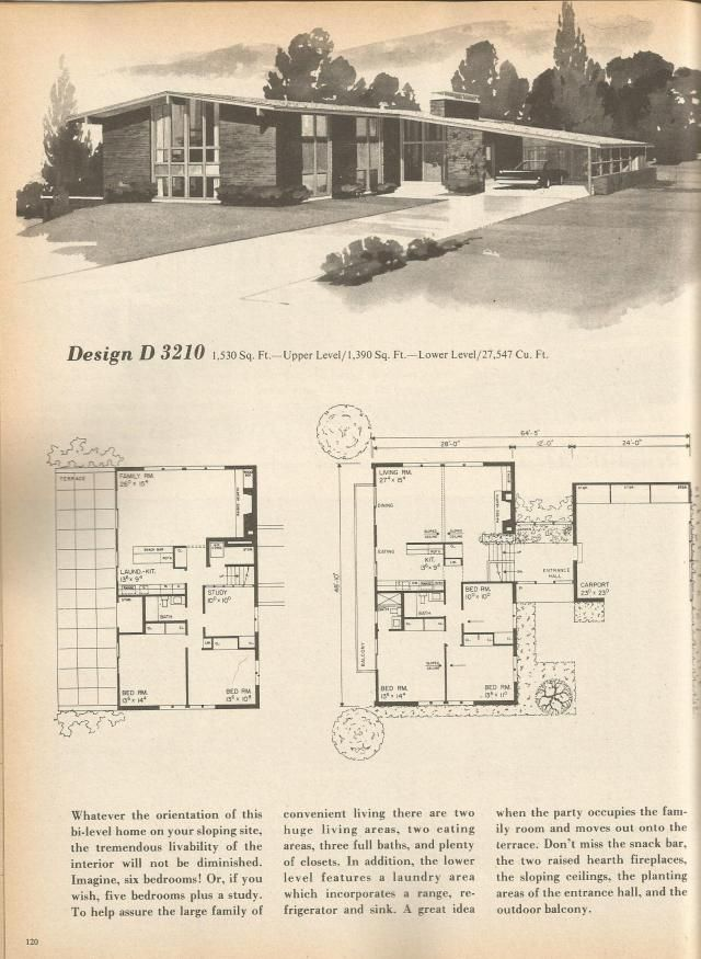 vintage house plans mid century homes