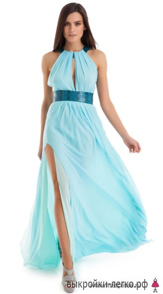 Греческое платье с кожаными вставками   Выкройки онлайн и уроки моделирования