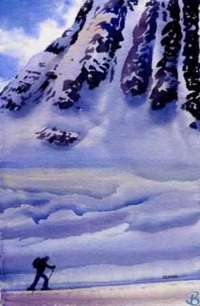 """Passage by Artist Kendra Dixson    Cross Country Ski through a mountain pass.     Available in Prints and Art Cards:  8""""x10"""" Print  11""""x14"""" Print  16""""x20"""" Print     6 Pack Cards  20 Pack Cards  50 Pack Cards"""