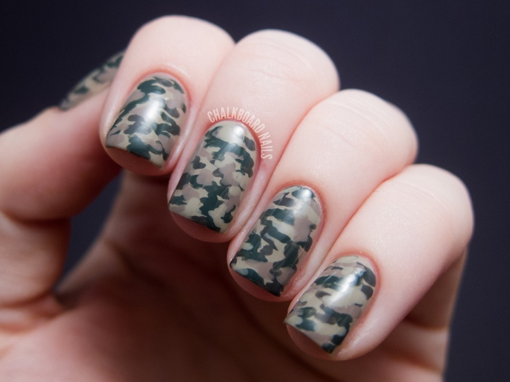 Chalkboard Nails - Camouflage Nails