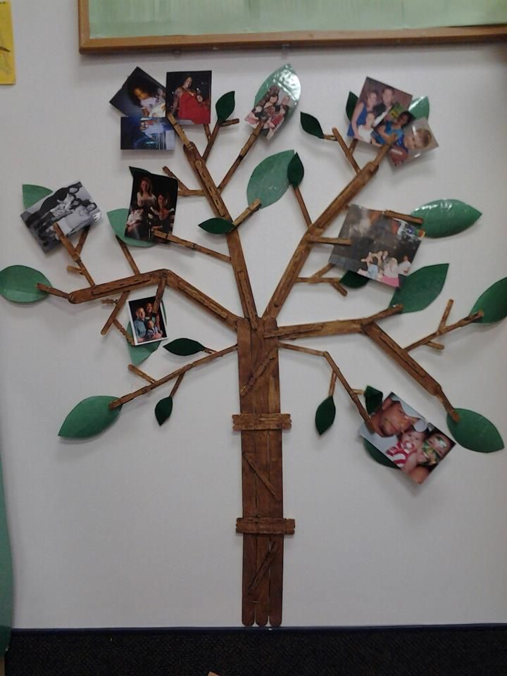 "The other day I woke up and thought to myself, I bet a tree made out of popsicle sticks and clothespins would look pretty awesome.. So by the end of the day I had a ""family tree"" with my preschool classrooms family pictures. It would also be cute for just pictures of your own family as well I think.."