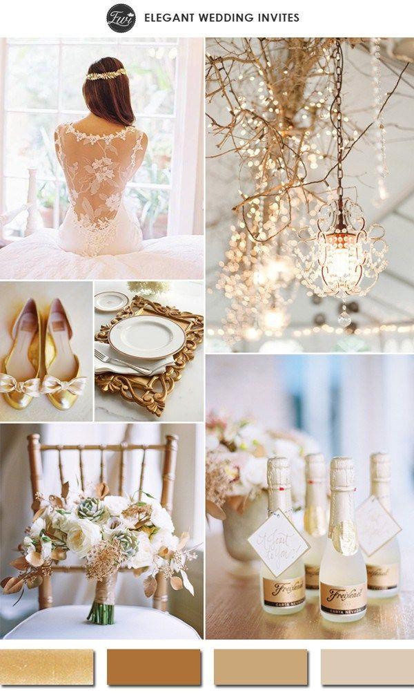 Если же вы готовите действительно шикарную свадьбу во дворцовом стиле – такая свадьба можетбыть выдержана в золотом цвете. Если место вашей свадьбы или ее тема — Венеция, тогда лучшим выбором свадьбы будет цвет старого золота, а точнее, как его называют в Италии — oro veneziano. Золотой так же один из лучших цветовых решенийдля предновогодней свадьбы. Посмотрите как интесно золотой цвет дополняет голубой Тиффани