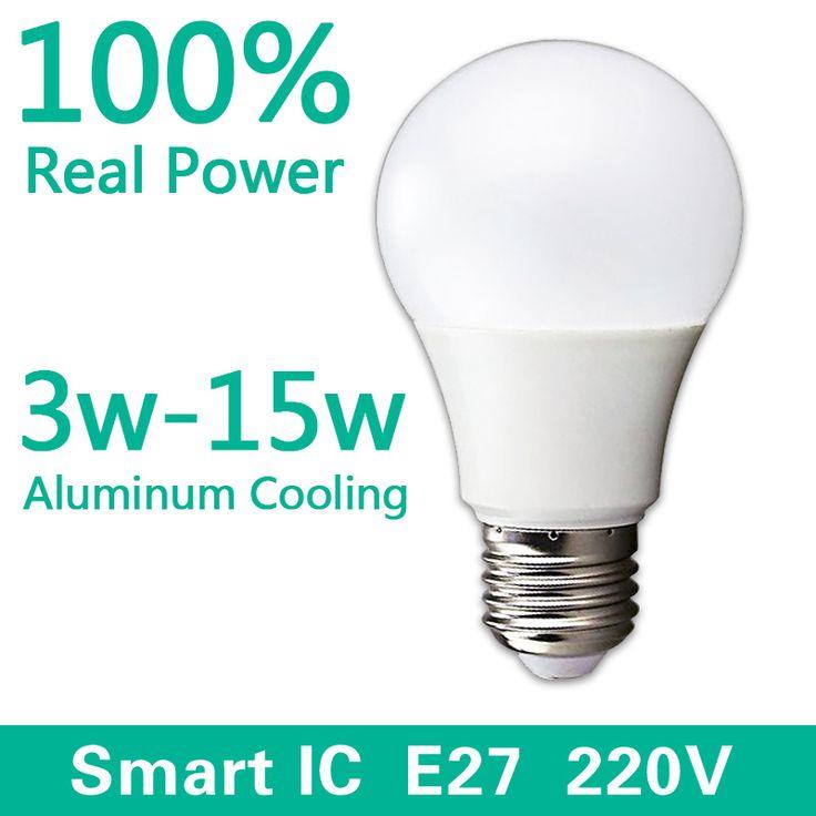 СВЕТОДИОДНЫЕ Лампы E27 220 В-240 В Лампа Смарт IC Реальная Власть 3 Вт 5 Вт 7 Вт 9 Вт 12 Вт 15 Вт Высокая Яркость Лампада LED Bombillas