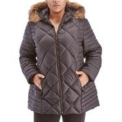 Plus Size Chevron Puffer Coat with Hood