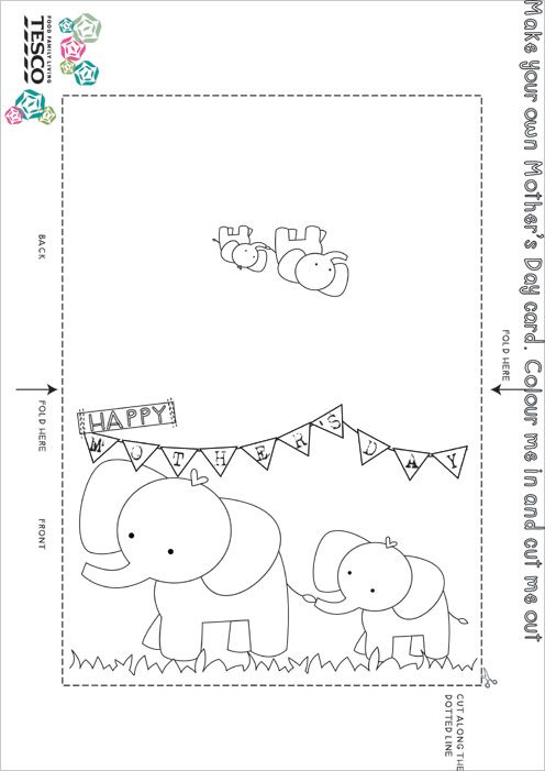 Printable Mother's Day Coloring Card Templates (With