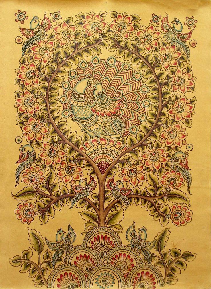 Kalamkari Bamboo Pen Painting Signed Original Folk Art 'After Rain' Novica India | eBay