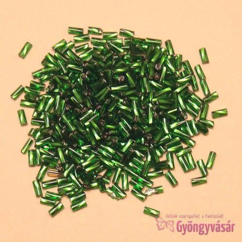 Ezüst közepű zöld, 4,5 mm-es csavart cseh szalmagyöngy (10 g) • Gyöngyvásár.hu