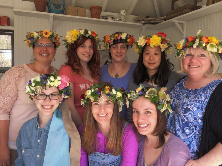 """Flower Child"" 2014 workshop making hair flowers, including these gorgeous flower crowns."