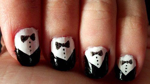 23 tuxedo nail art in 35 Creative Nail Art Designs