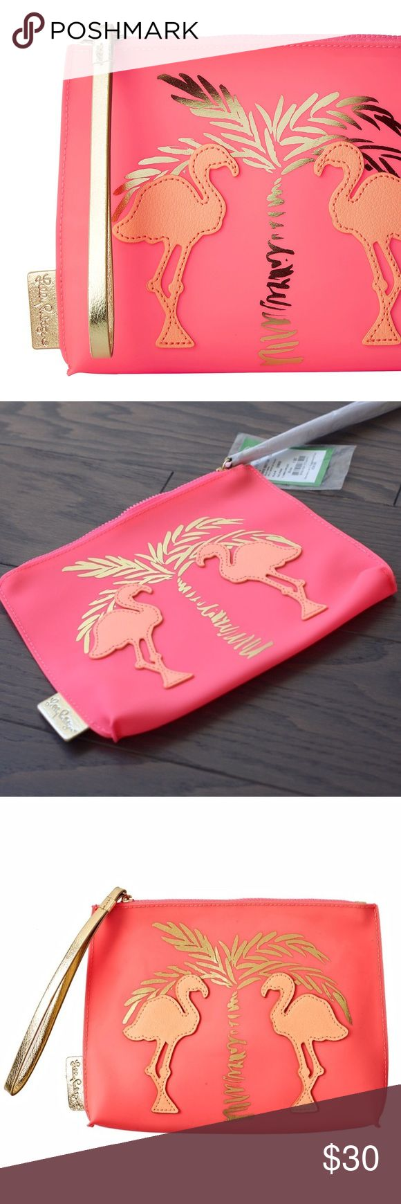 """Lilly Pulitzer Jelly Wristlet Pouch NWT 👛 PINK FLAMINGO design • neoprene jelly pouch with appliqué detail • 8.5""""w x 6.5""""h • new with tags 🏷 • semi-opaque jelly PVC • style # 25800 • photo credit 📷 Lilly Pulitzer for use of stock photos • sorry, no trades • price is firm • comment below with any questions! 👛 Lilly Pulitzer Bags"""