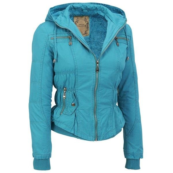 Coalition LA Ruched Side Hooded Center Zip Fabric Jacket ($55) ❤ liked on Polyvore featuring outerwear, jackets, blue jackets, faux fur lined jacket, cotton jacket, hooded jacket and blue cotton jacket