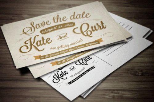 Convite de casamento estilo postal