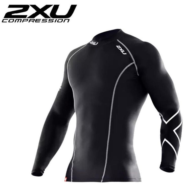 2XU MEN compression tights clothes long-sleeved t shirt Breathable Superelastic Joggers tees Fitness t-shirt