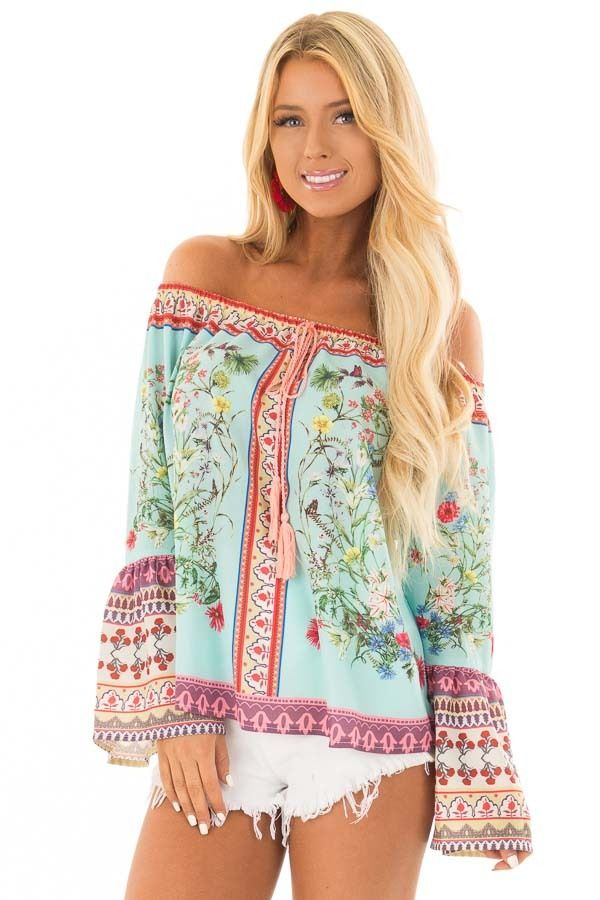 23438b806c4c71 Lime Lush Boutique - Mint Floral Off the Shoulder Top with Bell Sleeves
