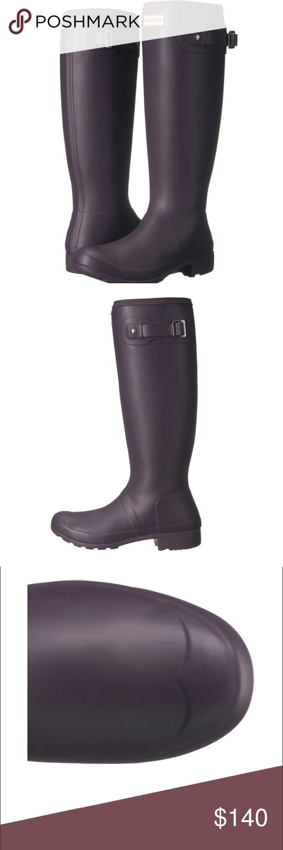 Hunter boots New hunter boots. Never been used still in the box. Color purple (matte). 🚫No Trade🚫 bundle and get 10% off. Hunter Shoes Winter & Rain Boots