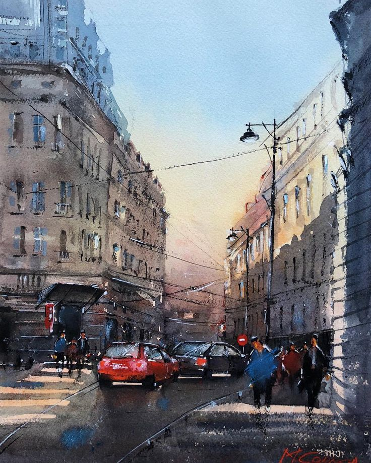 Bucharest Streets, watercolor painting