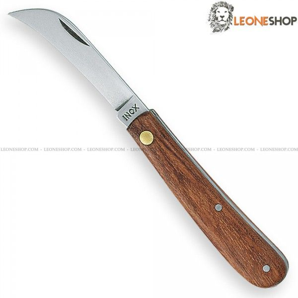"""Gardening Hook Knife ARCHMAN Italy, gardening and grafting hook knives with blade of AISI 420 stainless steel of high quality Mirror Polish finished - Blade lenght 1.9"""" - Handle made of Bubinga Wood finely handcrafted, inside steel and rivet of Brass - Overall lenght 4.3"""" - Weight 0.6oz - ARCHMAN Italy Gardening hook knife ideal for any manual plants graft and for garden works, a truly exceptional product with quality materials and good italian design, light, useful...."""