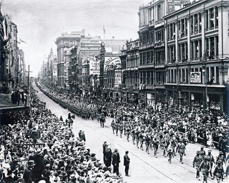 Collins Street in Melbourne, Australia- marching off to World War I.