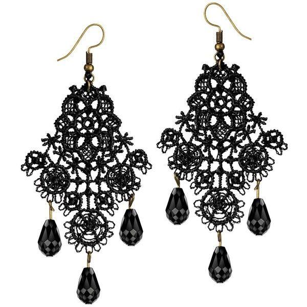 Mints Chandelier Earrings Gothic Jewelry for Women Tassel Black Lace... ❤ liked on Polyvore featuring jewelry, earrings, dangle earrings, long earrings, fringe tassel earrings, gothic jewelry and lace earrings