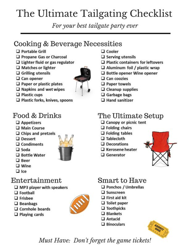 Tailgate Checklist 2016 ... a free downloadable checklist to help you remember everything you need for a great tailgate party.